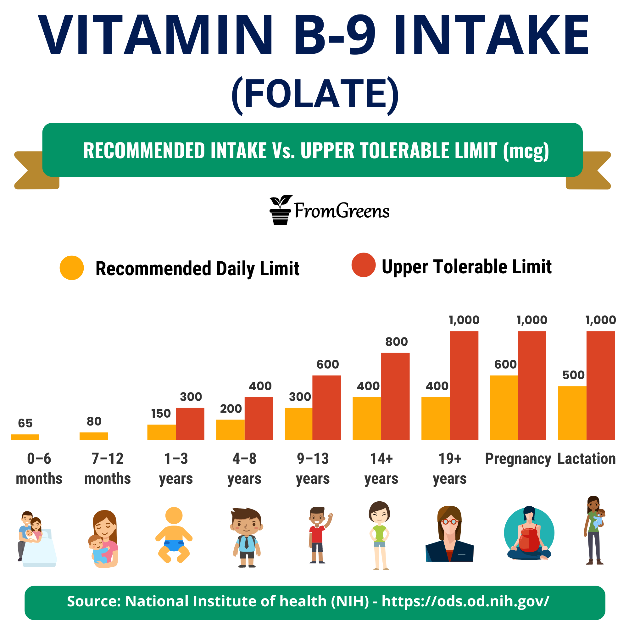how much vitamin b9 folate is recommended daily
